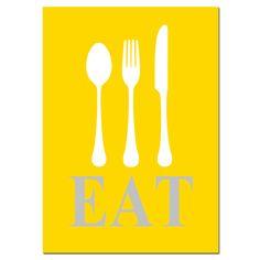 SALE - Eat- 5x7 Typography Kitchen Print - Spoon, Knife, Fork Silhouette - Mustard Yellow, Gray, White. $5.00, via Etsy.