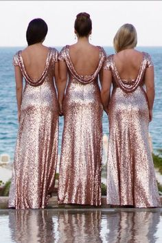 cda597040e5 Rose Gold Sequin Bridesmaid Dress with Sleeves Metallic Dresses