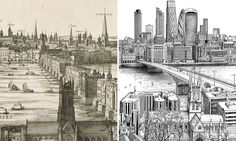 Architecture & PoliticsWhat a difference 400 years makes: London skyline 1616 vs. by Claes Jansz Visscher's classic engraving of London half a century before the Great Fire, Robin. London Map, London Skyline, Old London, East London, Great Fire Of London, The Great Fire, London Drawing, Cities, London History