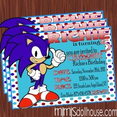 http://mimisdollhouse.com/product/sonic-the-hedgehog-invitation/  The Sonic the Hedgehog invitation is personalized to include Name, Age, Date, Time, Location, and RSVP.  This invitation is available in printable JPED and PDF formats.  coordinating decorations package is available for this theme: http://mimisdollhouse.com/product/sonic-the-hedgeho-party-printable-collection/  #SonicTheHedgeHog #Sonic #SonicInvitation #SonicParty #BirthdayParty