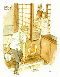 Natsume and his real family ^^ Pretty Art, Cute Art, Anime Guys, Manga Anime, Natsume Takashi, Cool Anime Pictures, Hotarubi No Mori, The Ancient Magus Bride, Anime Family