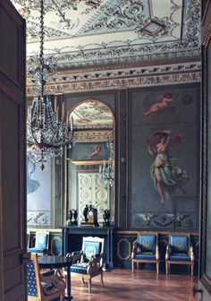 French blue silk chairs ! @Historic Houses of Paris:Residences of the…