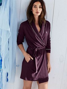 I wear a size Small (Medium if sm not available). I love this purple color, Red or Black would be fine too! $45 Sleepover Cotton Knit Robe