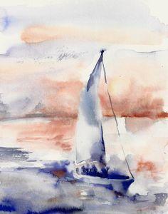 Seascape with Boat Watercolor Painting Art Print, Nautical Sea Wall Art, Modern Art