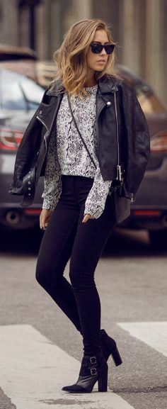 #outfits #black #fashion Kenza Zouiten + black jeans + monochrome sweater + Monki + Acne leather jacket + chunky heeled boots + sunnies Jeans/Sweater/Bag: Monki, Shoes: Notion 1.3, Jacket: Acne.