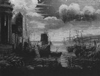 A HARBOR WITH DOCKED SHIPS AND FIGURES ON THE SHORE by Salvator Rosa