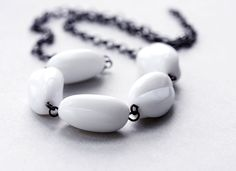 White necklace  milk glass vintage style bridal by violasboutique, $16.00