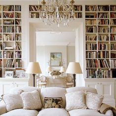 This wall of books adds great depth and texture to the room.