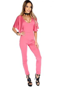 Wear this sexy jumpsuit for a night out! Featuring a deep plunge V cut 2e902d9be637