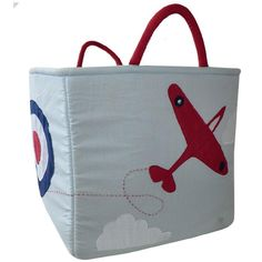 Vintage Plane Quilted Toy Bag