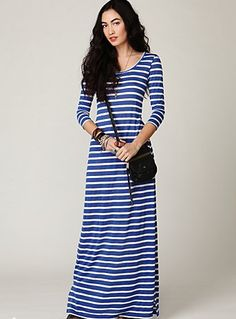 A striped long sleeve maxi dress with a round collar. / Stylish Long Sleeve Maxi Dresses / Catherine Perez on Fuseink