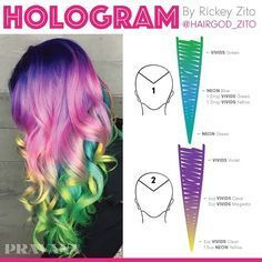 Who wants Hologram Hair? Re-create this VIVIDS masterpiece by wit… Who wants Hologram Hair? Re-create this VIVIDS masterpiece by with the formula shown! Hair Color Techniques, Colouring Techniques, Hair Dye Colors, Cool Hair Color, Vivid Hair Color, Hair Color Placement, Pelo Multicolor, Hair Color Formulas, Aveda Color