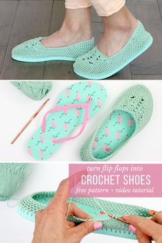 Cotton yarn and a flip flop sole make this free crochet slippers (or house shoes) pattern perfect for warmer weather.Cotton yarn and flip flops combine to make super comfy crochet slippers with soles in this free crochet pattern! Crochet Sandals, Crochet Boots, Crochet Slippers, Diy Crochet, Crochet Baby, Cotton Crochet, Crochet Summer, Crochet Ideas, Crochet Flip Flops