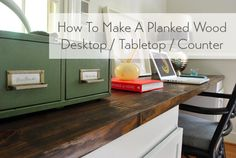 Such a great way to upgrade a cabinet base or dresser/desk: add a planked top!