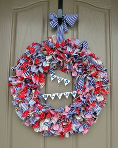 Red, white & blue ribbon wreath