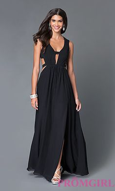 Long V-Neck Open Back Gown TE-5011 with Cut Outs by Temptation at PromGirl.com