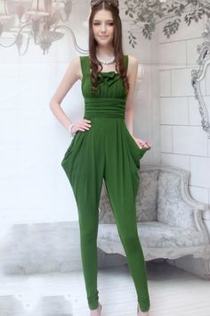 Olive Sleeveless Jumpsuits OASAP.com