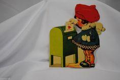 vtg valentine card USA standup cardboard mechanical Girl at mailbox