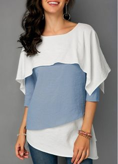 Fashion Women Casual Tops Loose T Shirts Three Quarter Sleeve Overlay Asymmetric Hem Blouse Tops T Shirts Stylish Tops For Girls, Trendy Tops For Women, Blouses For Women, Half Sleeves, Types Of Sleeves, Moda Fitness, Quarter Sleeve, Tops Online, Shirts Online