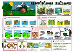 Descibimos Paisajes; also links for other things like personal adjectives and animal adjectives