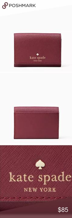 """Kate Spade Wallet Mikas Pond Christine Burgundy * Kate Spade Wallet Mikas Pond Christine Burgundy Rioja New  * New with tag  * MATERIAL crosshatched leather with smooth leather trim capital kate jacquard lining 14-karat gold plated hardware * FEATURES small wallet with snap closure two slide pockets with exterior slide pocket at back gold foil emobossed kate spade new york signature with spade stud style # wlru1687 * DETAILS 3""""h x 4.3""""w x 0.7""""d dust bag not included * MSRP $128.00   Items…"""