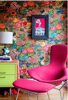 fuschia, lime, red - Chiang Mai Dragon 5001064  Mocha wallcovering