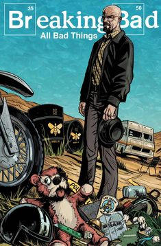 Breaking Bad - Poster illustration featuring Walter White and a host of key…