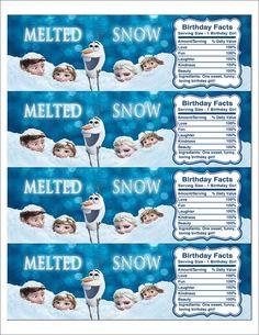 Instant Download Disney Frozen Printable Water Bottle Label, Birthday Water Bottle Label, Melted Snow Frozen Label