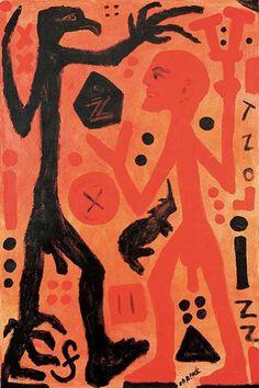 A.R. Penck (1939) is een Duits schilder, graficus, beeldhouwer en jazz-drummer. Hij heeft zich 4x aangemeld bij verschillende academies, maar werd steeds afgewezen. Hij beweerde dat de afwijzing op politieke gronden was. Sinds 1969 kreeg hij in toenemende mate problemen met de Stasi van de DDR: Zijn schilderijen werden in beslag genomen. In 1979 werden bij een inbraak in zijn atelier verschillende kunstwerken, maar ook aantekeningen, vernield, zodat zijn vertrek uit de DDR, onontkoombaar…