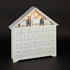 Buy John Lewis Croft Collection White Wooden LED Advent House Online at…