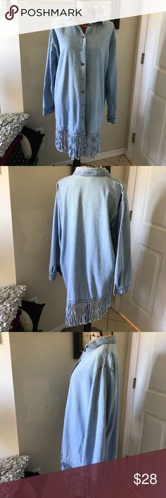 """CMC color me cotton denim dress The shirt has some discoloration on the inside, around the neck area. It's been washed properly. Price reflects condition. """"Don't forget to like one of my many free items to receive with your purchase. cmc Dresses Mini"""