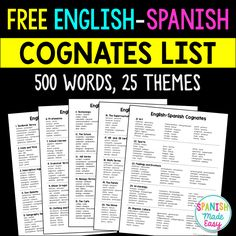 Free English-Spanish Cognates List by Spanish Made Easy Spanish Cognates, Spanish Vocabulary, Spanish Language Learning, Teaching Spanish, Spanish Words, Spanish English, How To Speak Spanish, Learn Spanish, Spanish Basics