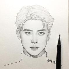 Kpop Drawings, Cool Art Drawings, Pencil Art Drawings, Realistic Drawings, Art Drawings Sketches, Nct, Korean Art, Kpop Fanart, Art Sketchbook