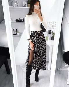 Whats your favorite layering piece Shop 'SHEIN Ditsy Floral Print Wide Band Waist High Split Skirt' link in bio. Winter Fashion Outfits, Look Fashion, Autumn Fashion, Fashion Women, Autumn Outfits, Fall Dress Outfits, Skirt Fashion, Trendy Fashion, Formal Winter Outfits