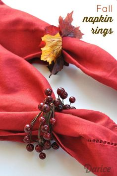 DIY Thanksgiving Napkin Rings from Live Love Craft. A great tutorial for making these fall napkin rings. They combine silk leaves, berry garlands, and grapevine wreaths.