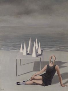 René Magritte (Belgian, 1898-1967), Les surprises et l'océan, 1927. Oil on canvas, 98.2 x 74 cm.