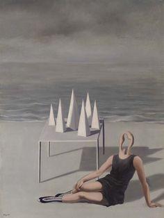René Magritte (Belgian, 1898-1967), Les surprises et l'océan, 1927. Oil on canvas, 98.2 x 74 cm.
