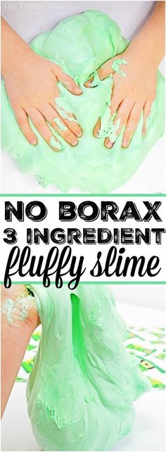 Here is a slime made with shaving cream and 2 other ingredients without borax at all. Safe for kids to make and fluffy to the touch. Create any color you like for the holidays or a slime birthday party activity. It's easy to make goo your kids will love. #shavingcream #slime #green #stpatricksday #easy #kidsafe #boraxfree #no #borax #fluffy via @thetypicalmom