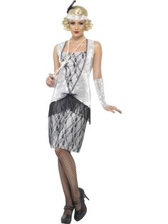 e68680522d38 Silver and black sequined flapper dress with headband and glovettes - great  for a Gatsby themed hen party