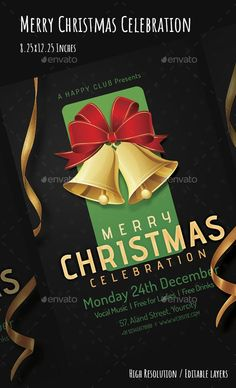 Buy Merry Christmas Flyer by VyamPixels on GraphicRiver. Merry Christmas, Vintage Christmas, Christmas Cards, White Christmas, Christmas Flyer Template, Christmas Templates, Martini, New Years Poster, Event Flyer Templates