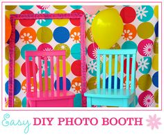 Easy DIY Photo Booth...could use themed or just cool fabric or wrapping paper plus a big frame. Fun!