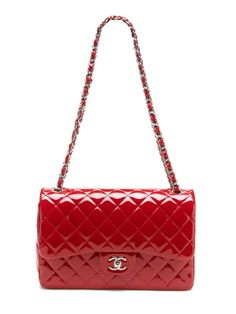 Chanel Lipstick Red Quilted Patent Leather Classic Jumbo 2.55 Double Flap Bag