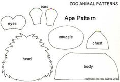 Zoo Animal Free Paper Piecing Patterns for Scrapbooking - Ape Pattern for Scrapbooks - Ludens