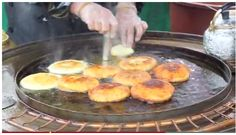 Hotteok (호떡) is a hot, fried rice pancake filled with sugar and syrup. This is a Korean junk food for about 1 dollar and usually sold on the street.