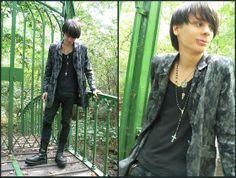 Flowered Jacket, Gap Black Shirt, Prayer Beads, Black Jeans, Invader  Black Boots
