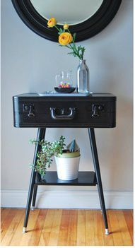 Attach a suitcase to the bottom of a stool & paint!