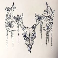 Image result for skull with flower tattoo ram