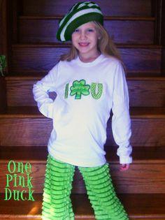 I SHAMROCK U ruffled fabric St. Patricks Day shirt and Ruffled Pants lime green kelly green appliqued $30 for pants! www.onepinkduck.com