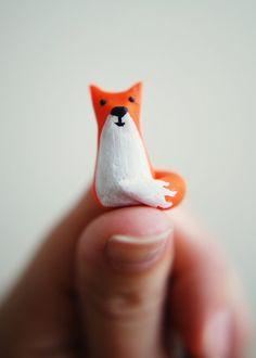 Fox Miniature Clay Sculpture