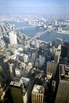 The view from the top of the World Trade Center in New York City